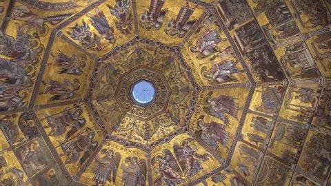 FLORENCE, ITALY - NOVEMBER 2016: Interior of Battistero di San Giovanni. Beautiful ceiling.