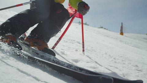 SLOW MOTION: Professional Skier at Giant Slalom Ski training