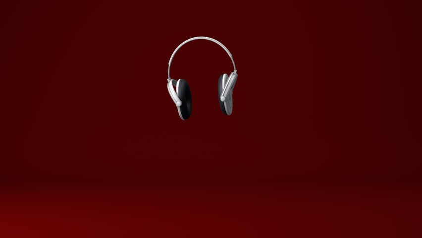 Dancing Headphones with an Red Background
