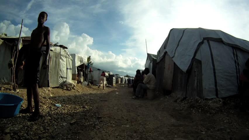 PORT-AU-PRINCE - CIRCA OCTOBER 2010: Tent city in Port-au-Prince, Haiti circa October 2010.