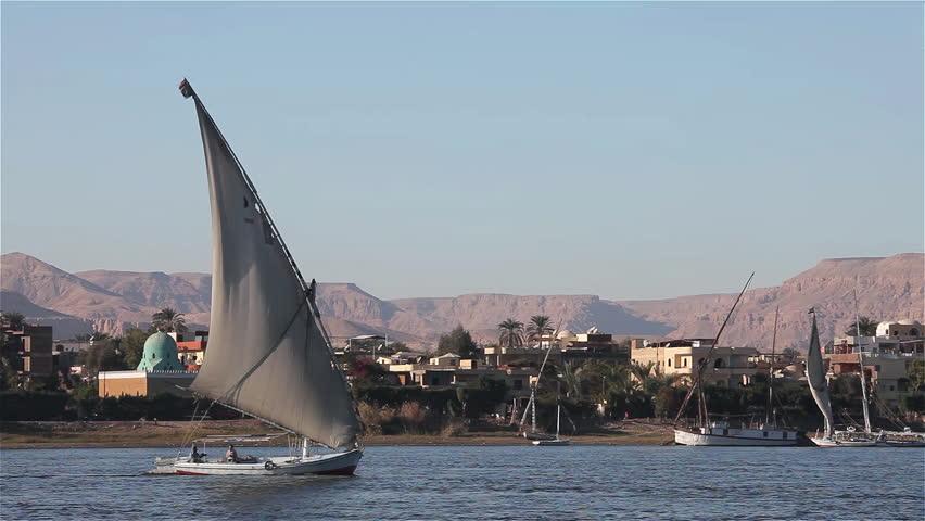 EGYPT, LUXOR - JANUARY 2013: Felucca In Full Sail; River Nile Luxor Egypt