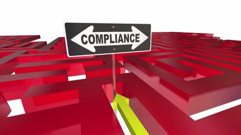 Compliance Sign Maze Follow Rules Regulations 3d Animation