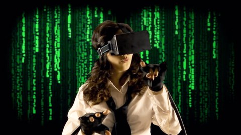 A girl wearing a virtual reality headset, wired gloves, interacting with what she sees. Background: random cuneiform characters falling down (code rain, a popular sci-fi movie effect).