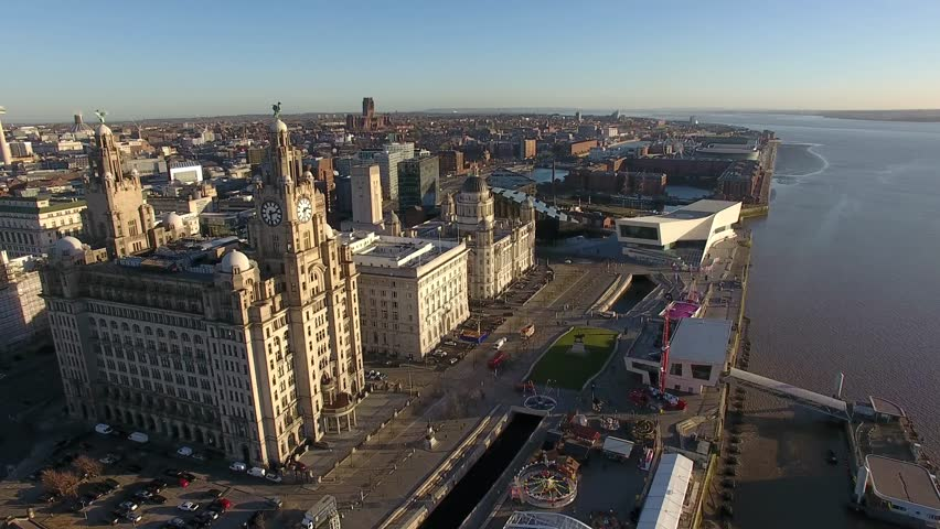 Liverpool Skyline and the Mersey river - Amazing 4K Drone footage in the warm evening light. #22421221