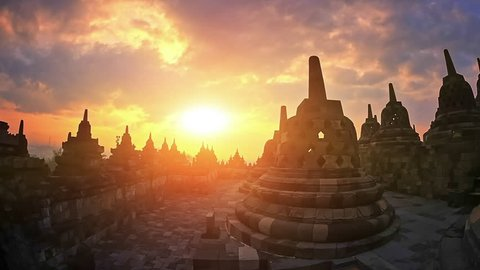 Amazing view of Borobudur temple architecture at sunset during trip in Indonesia