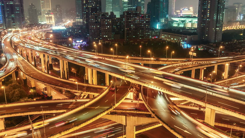 Complex highways in Shanghai, China, at night. Scenic aerial view of big illuminated interchange with fast moving cars. 4K Time lapse.  | Shutterstock HD Video #22446301