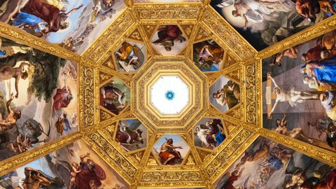 FLORENCE-December 16: Illustrative video of the ceilings of the Medici Chapels,in Florence, Italy. The Medici Chapels are part of the Basilica of San Lorenzo. Pictures taken on November 10, 2016.