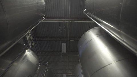 Beer tanks in brewery