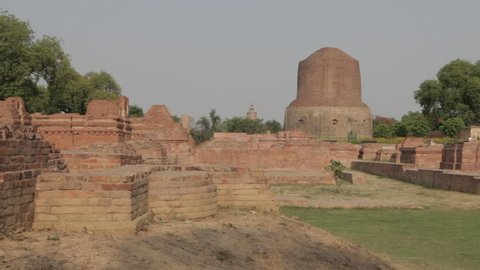 CIRCA 2011: WS Stupas where Buddha chose to deliver his first sermons / Sarnath, India