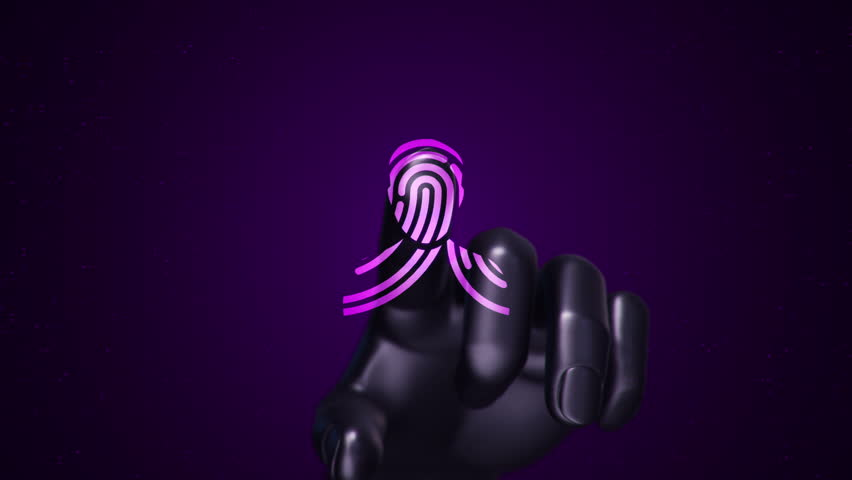 Animation touching finger of abstract human hand to touch screen and scanning tech symbol as fingerprint. Animation of seamless loop. | Shutterstock HD Video #22483018