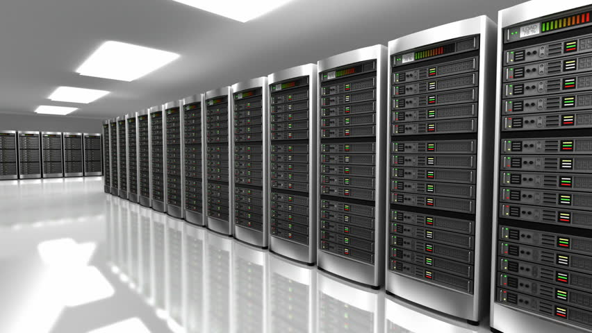 Computer Servers In A Data Center Loopable Blue