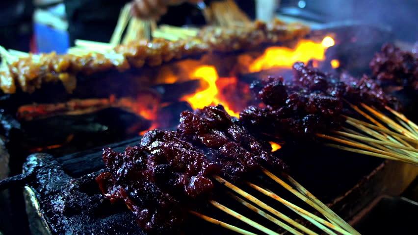 Video Asian meat street