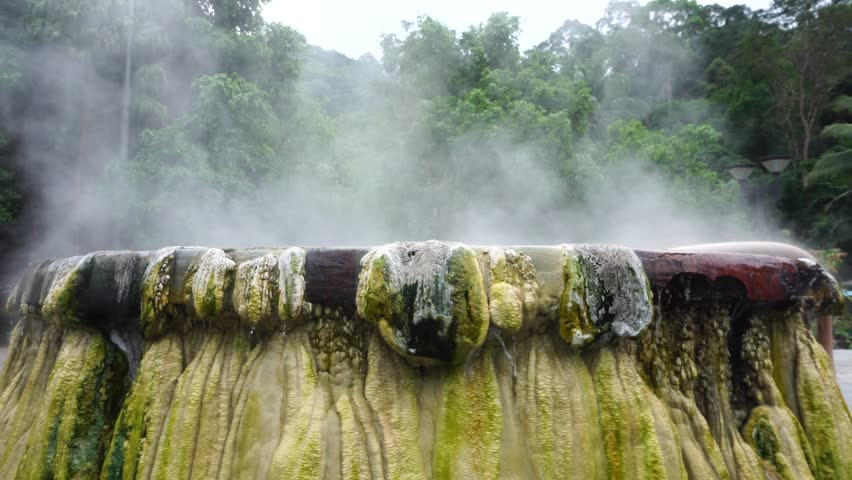 4K Resolution : Hot springs pool at Raksawarin Public Park in Ranong, Southern Thailand
