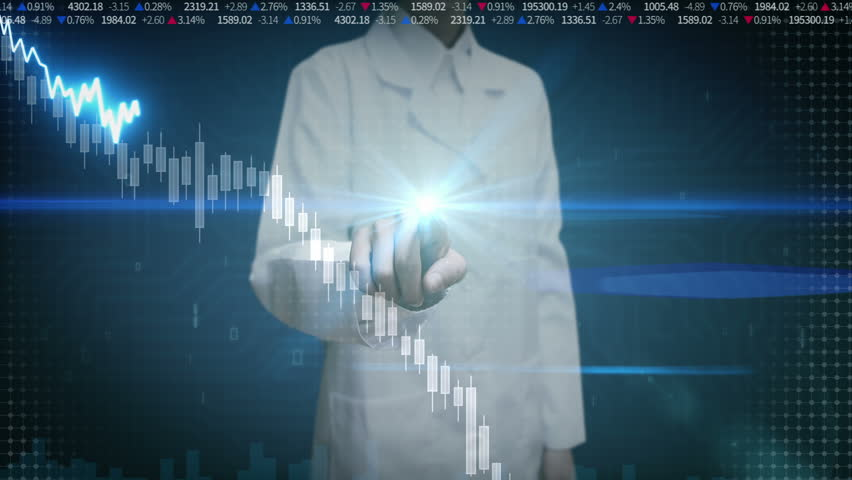 Female researcher engineer touched screen, various animated Stock Market charts and graphs. decrease line. Artificial Intelligence | Shutterstock HD Video #22513948