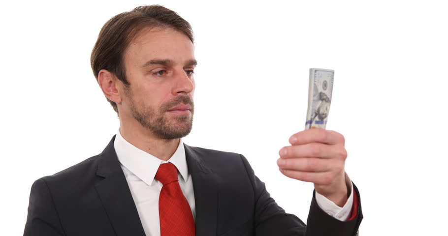 Good Looking Business Man Counting Money Usd Bills Salary Payday Studio Interior Ultra High Definition