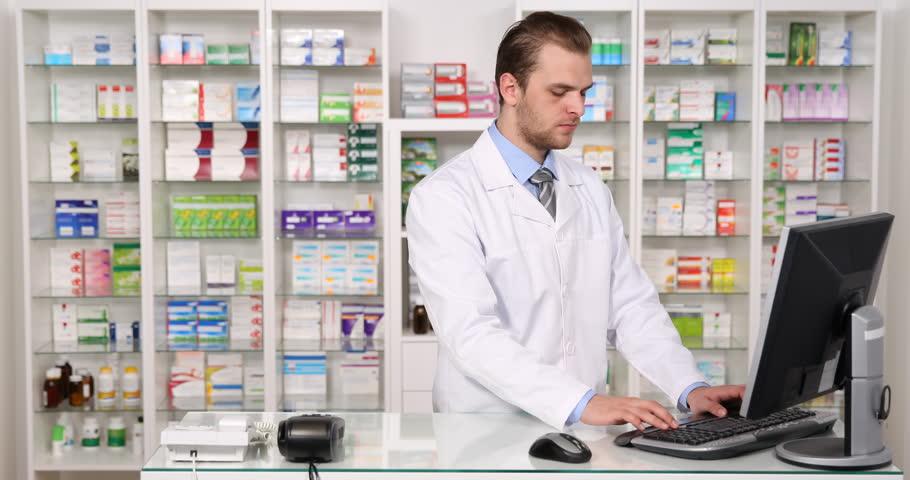 Pharmacist Man Talk Phone Customer Health Care Lack of Medicine Pharmacy Store. Ultra High Definition, UltraHD, Ultra HD, UHD, 4K, 2160P, 4096x2160 | Shutterstock HD Video #22525468