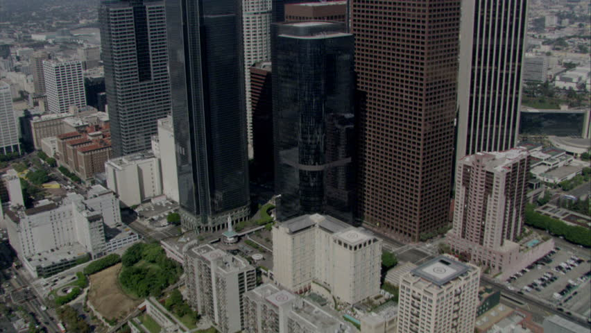 Aerial flying shot over and between skyscrapers in Los Angeles downtown area circa 2009   Shutterstock HD Video #2252968