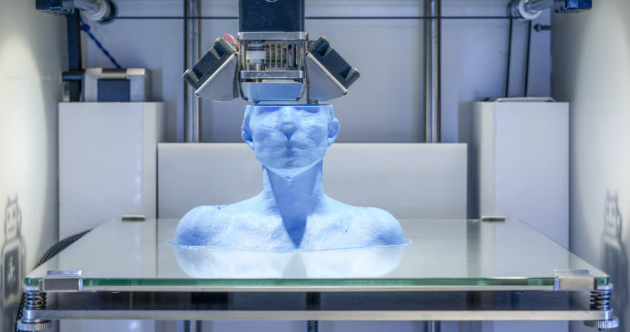 3D printer working, 4K Time Lapse of 3 D printer, printing a female bust with blue filament. This clip is part of a series of 2 which can easily be edited into a sequence.  | Shutterstock Video #22530913