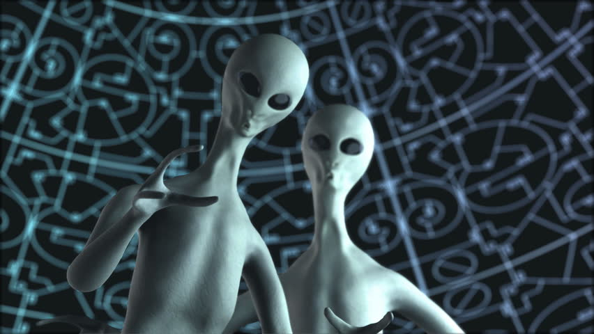 Two aliens on the sci-fi background