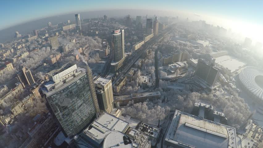 Kiev skyscrapers in winter, aerial view, raw | Shutterstock HD Video #22536388