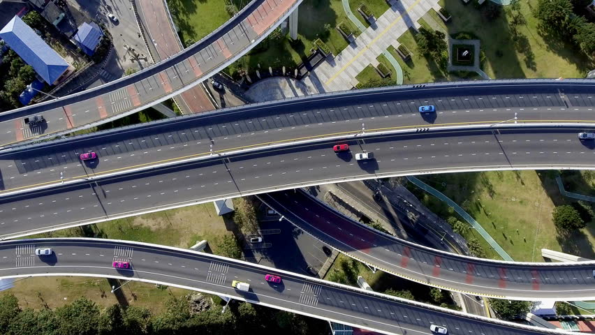 Aerial view of bangkok busy highway taken in afternoon, useful for engineering, industrial, transportation concept | Shutterstock HD Video #22546228