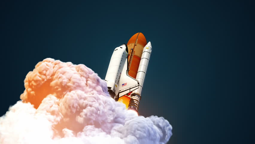 Space Shuttle In The Clouds Of Smoke. 3D Animation. | Shutterstock HD Video #22547728