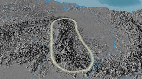 Revolution around Transylvanian Alps mountain range - glowed. Elevation map. High resolution ASTER GDEM data textured