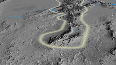 Glide over Tian Shan mountain range - glowed. Elevation map. High resolution ASTER GDEM data textured