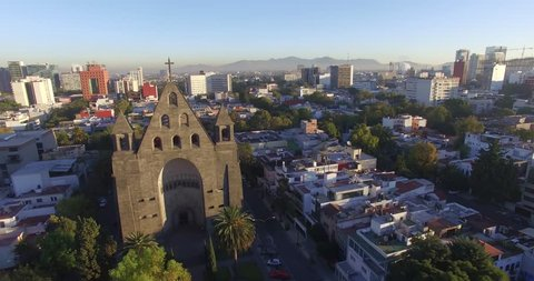 An aerial shot of the The Parroquia de San Agustin The Parroquia de San Agustin--or San Agustin Parish--is a church in the Polanco district of Mexico City.