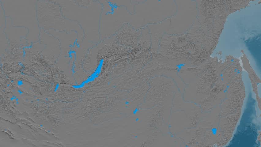 Zoom into Yablonovyy mountain range - masks. Elevation map. High resolution ASTER GDEM data textured