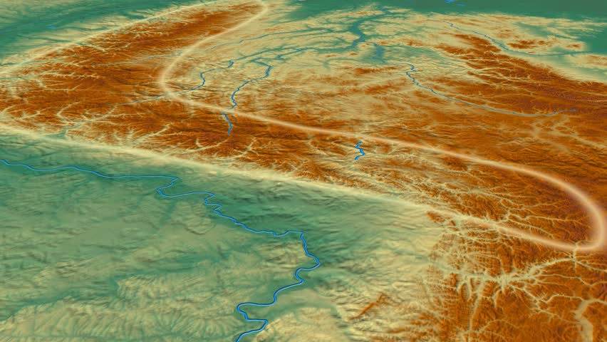 Glide over Verkhoyansk mountain range - glowed. Relief map. High resolution ASTER GDEM data textured