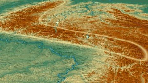 Glide over Verkhoyansk mountain range - glowed. Relief map. High resolution ASTER GDEM data textured