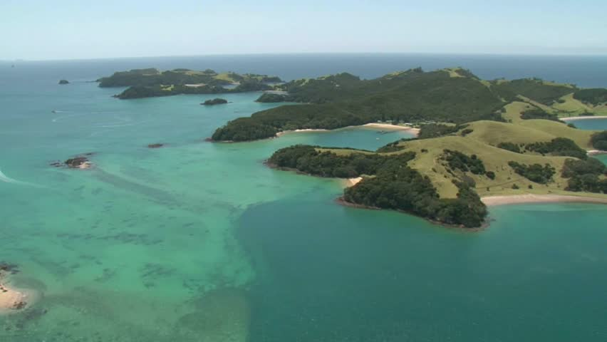 Urupukapuka Island, Bay of Islands, New Zealand. Scenic flight over the Bay of Islands and Urupukapuka Island in the foreground.
