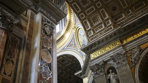 VATICAN CITY - JANUARY 24 2015: The Papal Basilica of St. Peter in the Vatican, or simply St. Peters Basilica