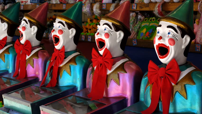 Laughing Clowns, A Popular Fair Game Stock Footage Video ...