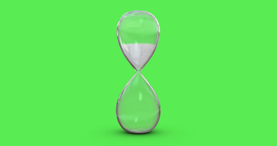 4K Hourglass White Sand Flowing on Green Screen Background