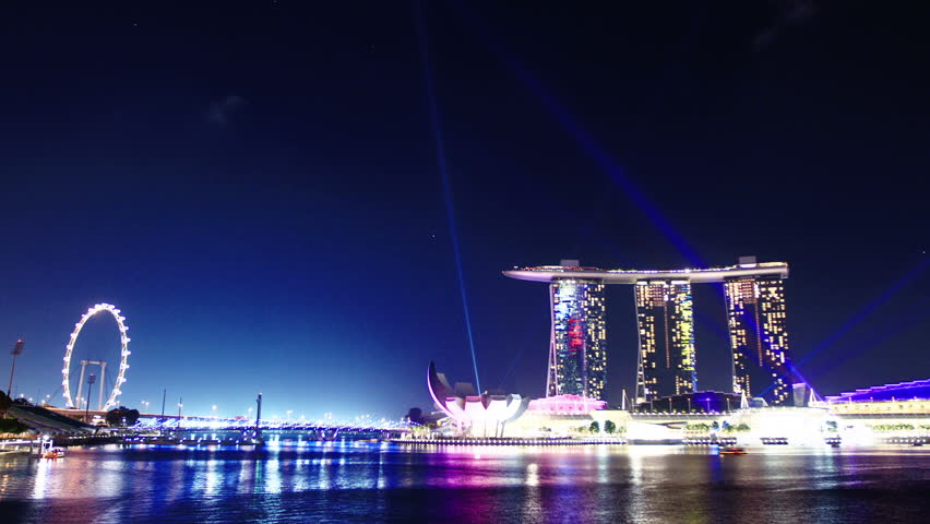 laser show in Singapore. time lapse