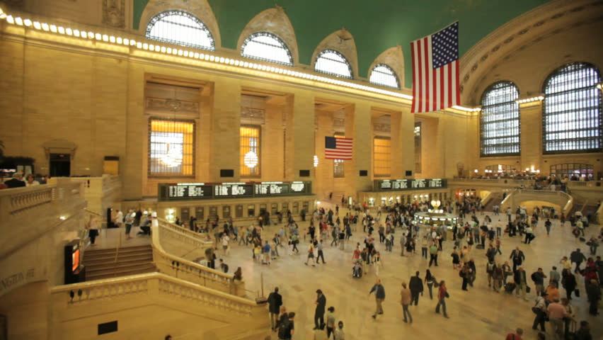interior of Grand Central Station in New York City, time-lapse
