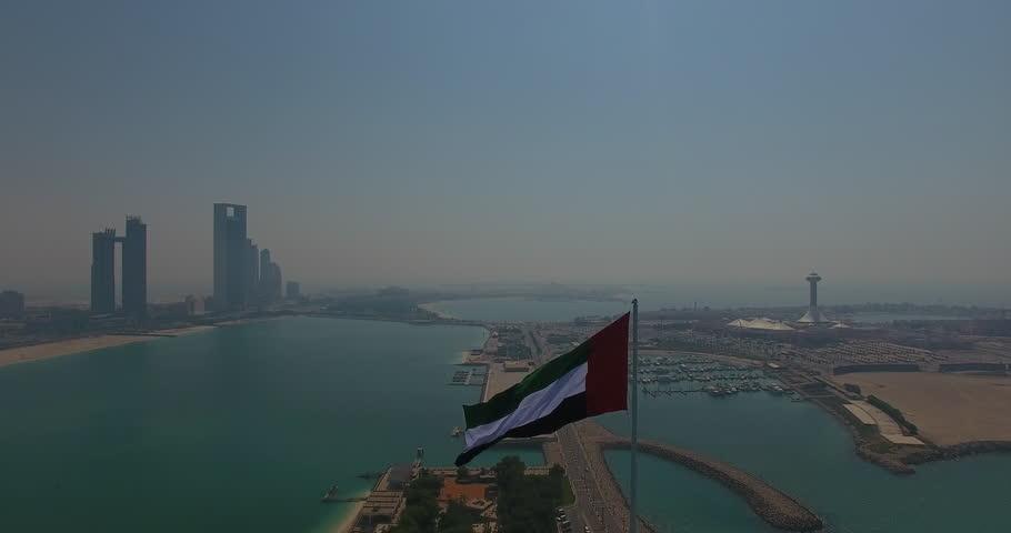 UAE FLag Abu Dhabi by drone