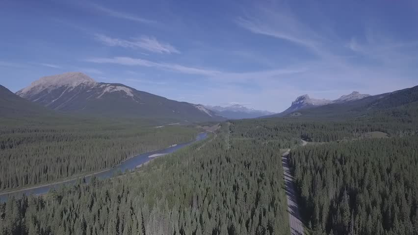 Jasper Banff National Park Athabasca River over national forest in sunny day aerial