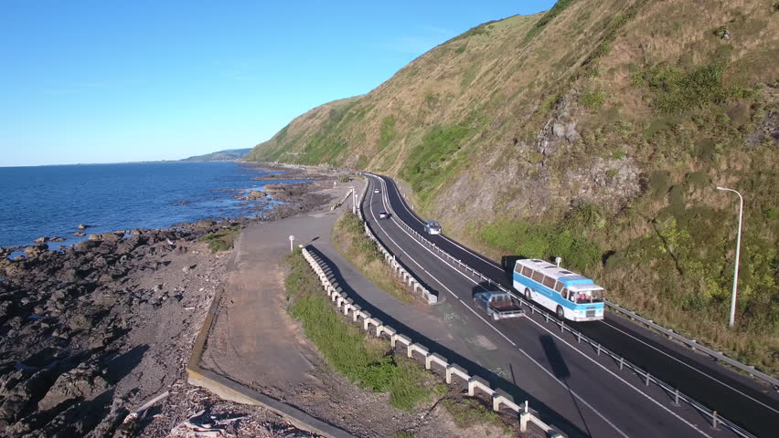 Traffic on Kapiti coastline scenic highway, New Zealand aerial view | Shutterstock HD Video #22748788
