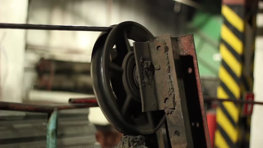 Steel Wire Rope Moving Through The Pulley Stock Footage Video ...