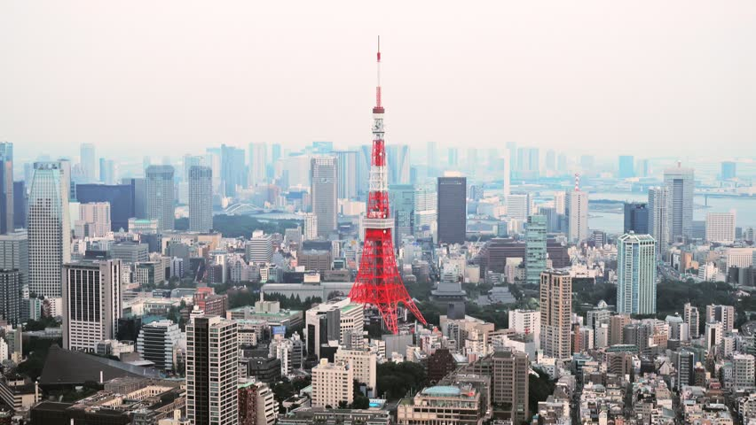 Tokyo, Japan - September 17, 2016: Skyline with the Tokyo tower. Tokyo tower is a communications and observation tower located in the Shiba-koen district | Shutterstock HD Video #22839118