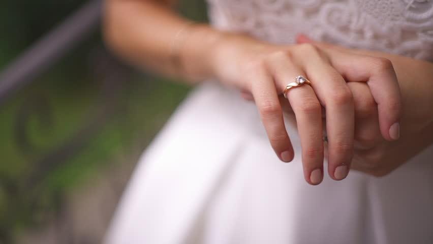 Closeup Of Bride Watchin Wedding Ring   HD Stock Video Clip