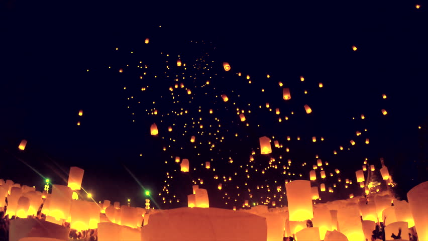 Tradition Floating lanterns in Yee Peng Festival, Loy Krathong celebration at Chiangmai province, Thailand