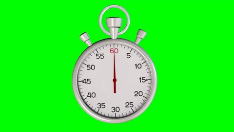 Stopwatch Loop Real time on Green Screen. Realistic stopwatch animation in seamless loop, realtime speed full 60 seconds