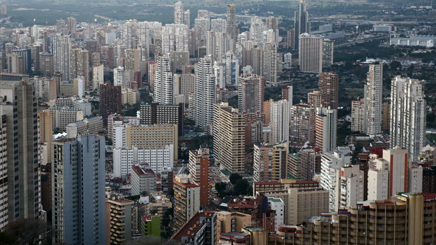 Aerial view of Benidorm buildings, Alicante, Valencian Community, Spain. Filmed in January 2017. | Shutterstock HD Video #22874188