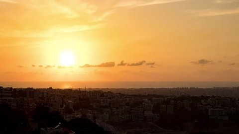 Sunset over Beirut time-lapse