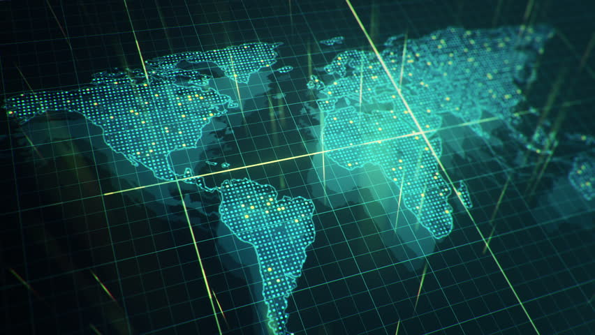 Abstract animation of World map in digital screen with colorful dots and lines. Animation of seamless loop. | Shutterstock HD Video #22911700