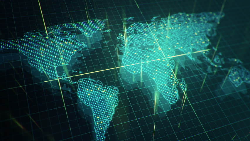 Abstract animation of World map in digital screen with colorful dots and lines. Animation of seamless loop. | Shutterstock HD Video #22911733